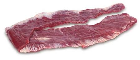 FRALDINHA OU VAZIO  É também chamado de aba de filé. No corte de costela minga, a fraldinha é a ponta com carne. Conhecido como vacio (espanhol), bavette d´aloyau (francês) ou thin flank (inglês).  Parte constituída de feixes musculares mais grossos e longos, é um corte muito saboroso que fica bom em ensopados, picados, cozidos, carne moída, carne recheada, carne desfiada (carne louca), caldos e sopa. Pode ser assada em churrasco ou na grelha, devendo ser cortada em tiras grossas.